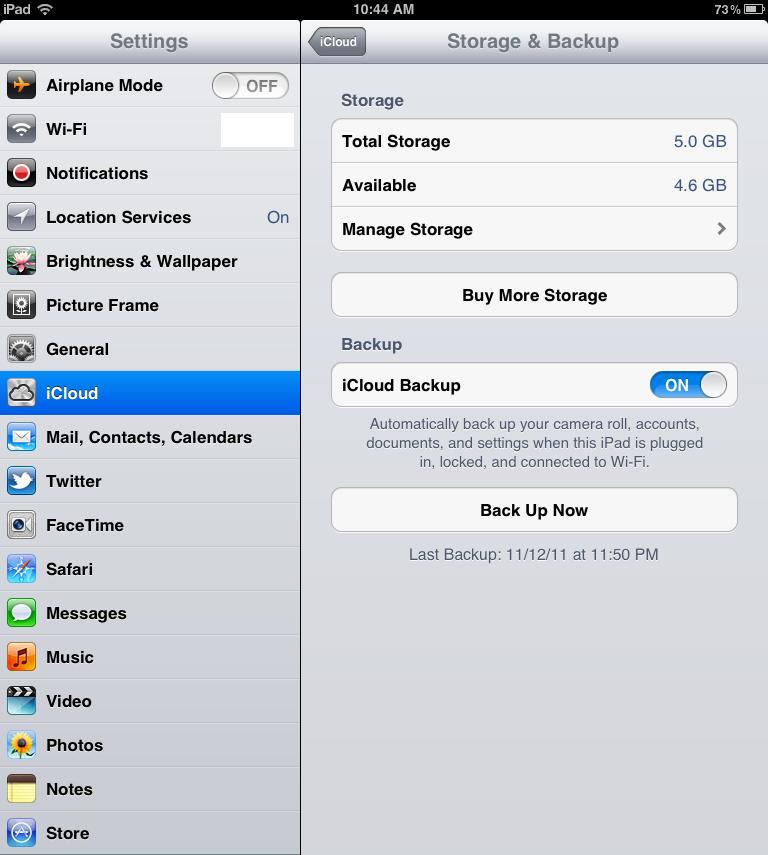 icloud free storage and backup