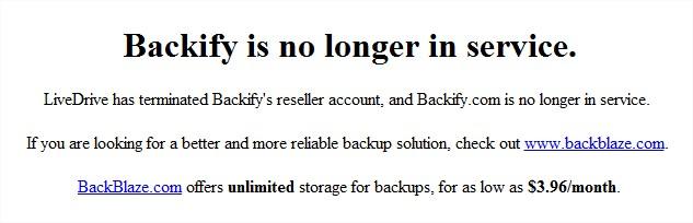backify shuts down, refers customers to backblaze