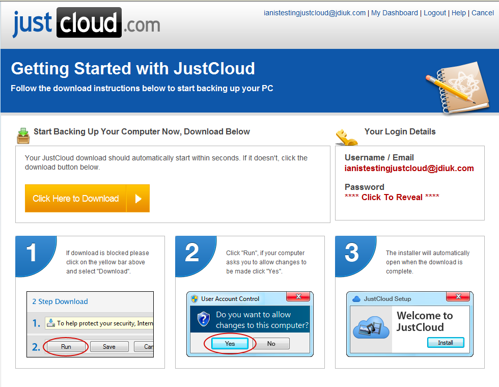 Getting started with JustCloud