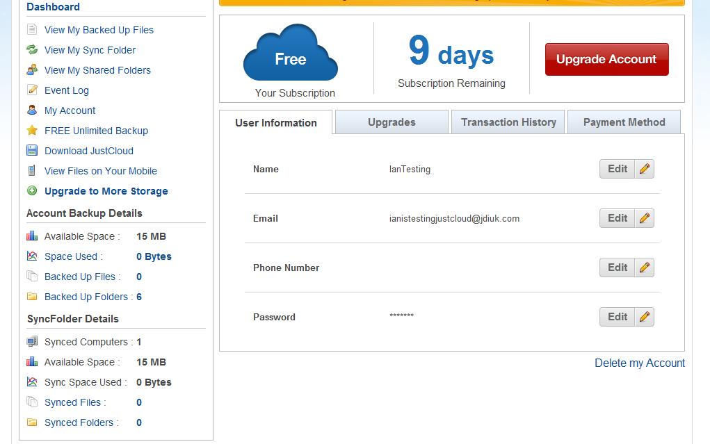 just cloud backup dashboard